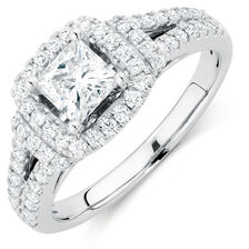 Ideal Cut Engagement Ring with 1.33 Carat TW of Diamonds in 14kt White Gold