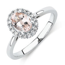 Ring with Morganite & Diamonds in 10kt White Gold