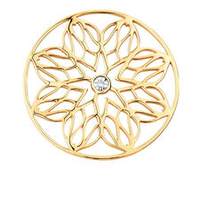 Diamond Set 10ct Yellow Gold Flower Coin Pendant Insert
