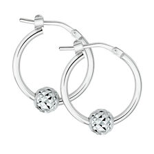 Patterned Ball Hoop Earrings in Sterling Silver
