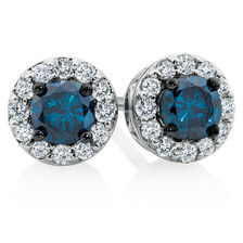City Lights Stud Earrings with 0.45 Carat TW of White & Enhanced Blue Diamonds in 10kt White Gold