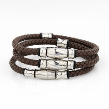 Online Exclusive - Men's Multi-wrap Bracelet in Stainless Steel & Brown Leather