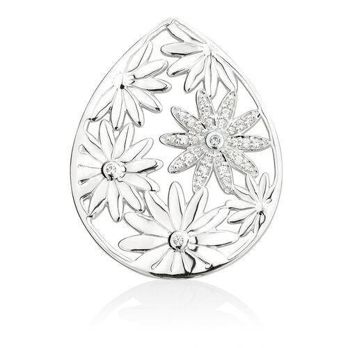 Daisy Coin Pendant Inset with Cubic Zirconia in Sterling Silver