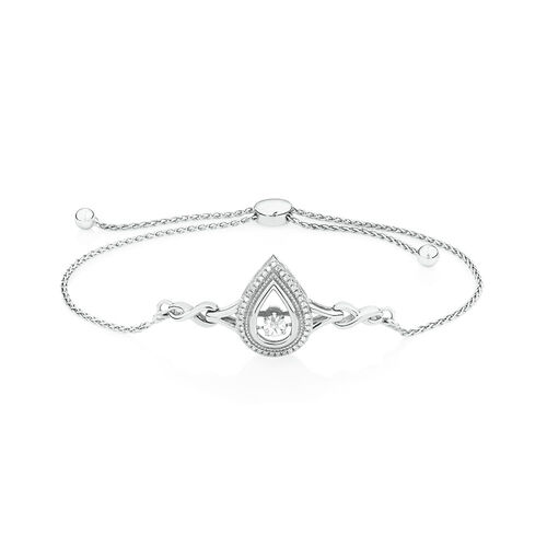 Adjustable Everlight Bracelet with Diamonds in Sterling Silver