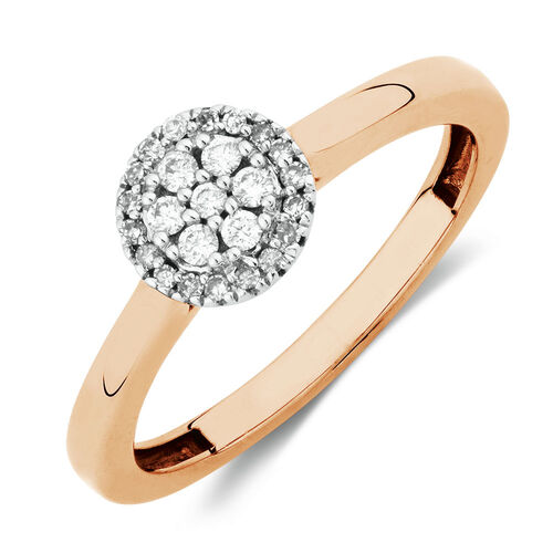 Promise Ring with 0 15 Carat TW of Diamonds in 10kt Rose Gold