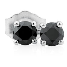 City Lights Stud Earrings with 0.23 Carat TW of Enhanced Black Diamonds in 10kt White Gold