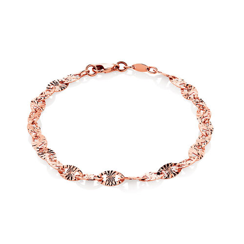 "19cm (7.5"") Patterned Bracelet in 10ct Rose Gold"