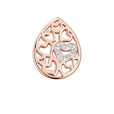 Diamond Set Heart Pattern Mini Coin Pendant Insert in 10ct Rose Gold