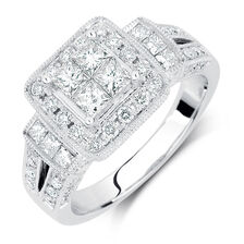 Engagement Ring with 1 3/8 Carat TW of Diamonds in 14kt White Gold