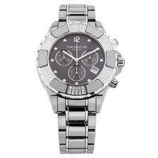Unisex Chronograph Watch with 3/4 Carat TW of Diamonds in Gray Ceramic & Stainless Steel