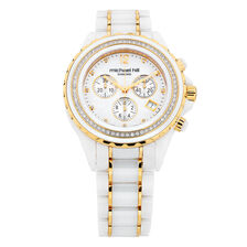 Unisex Watch with 1/2 Carat TW of Diamonds in White Ceramic & Gold Tone Stainless Steel