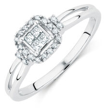 Online Exclusive - Promise Ring with 0.20 Carat TW of Diamonds in 10ct White Gold