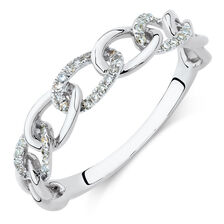 Link Ring with Diamonds in 10kt White Gold