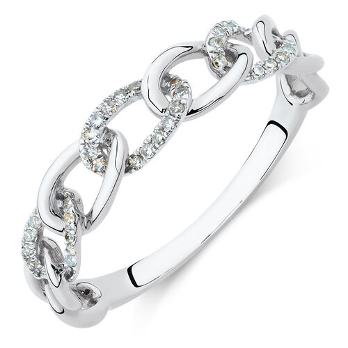 Link Ring with Diamonds in 10ct White Gold