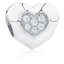 Love You Mum' Heart Charm with Cubic Zirconia in Sterling Silver