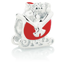 Santa Sleigh Charm with Red Enamel in Sterling Silver