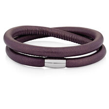 "Berry Leather 41cm (16.5"") Wild Hearts Double Wrap Bracelet"