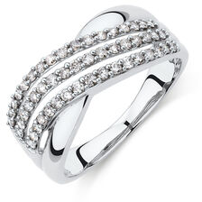 Crossover Ring with 1/2 Carat TW of Diamonds in 10kt White Gold