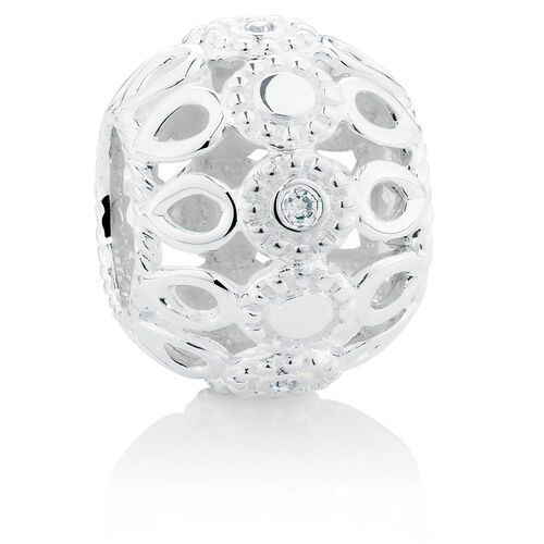 Diamond Set Sterling Silver Twist Pattern Charm