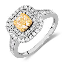 Engagement Ring with 1 1/4 Carat TW of White & Yellow Diamonds in 14kt White & Yellow Gold