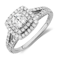 Michael Hill Designer Arpeggio Engagement Ring with 1 1/2 Carat TW of Diamonds in 14kt White Gold