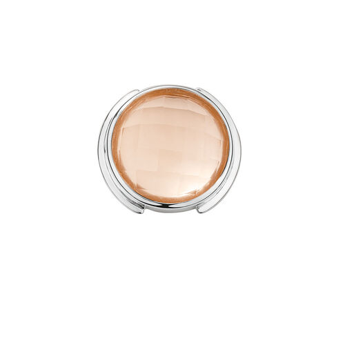 Mini Coin Locket Insert with Blush Glass in Sterling Silver