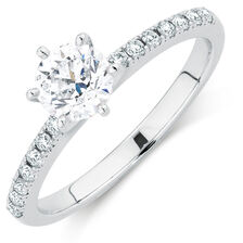Evermore Colourless Engagement Ring with 0.86 Carat TW of Diamonds in 14kt White Gold