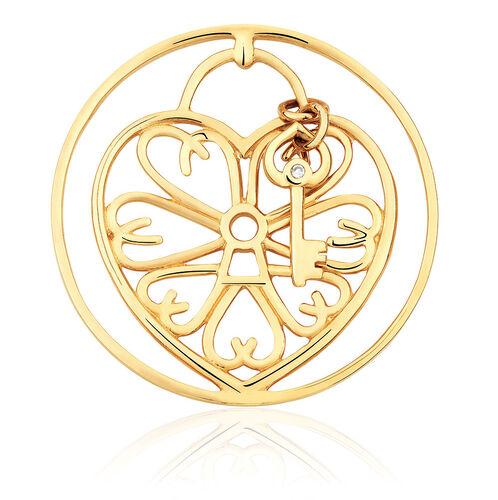 Diamond Set 10ct Yellow Gold Heart & Key Coin Pendant Insert
