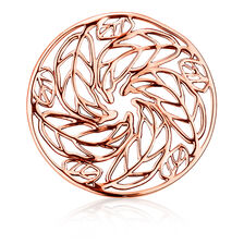 Leaf Pattern Coin Pendant Insert in 10ct Rose Gold