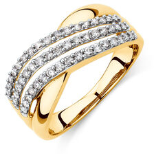Crossover Ring with 1/2 Carat TW of Diamonds in 10ct Yellow Gold