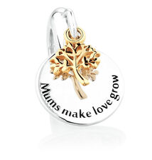 Tree of Life Dangle Charm in Sterling Silver & 10ct Yellow Gold