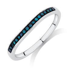 Wedding Band with Enhanced Blue Diamonds in 14ct White Gold