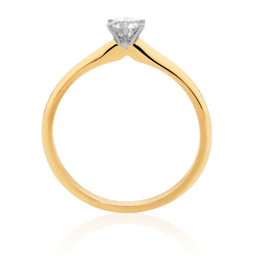 Solitaire Engagement Ring with a 1/4 Carat Diamond in 18ct Yellow & White Gold