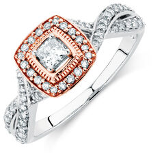 Engagement Ring with 1/2 Carat TW of Diamonds in 14kt White & Rose Gold