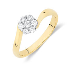 Flower Cluster Ring with 1/4 Carat TW of Diamonds in 10kt Yellow and White Gold