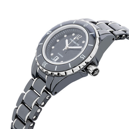 Ladies Watch with Diamonds in Black Ceramic & Stainless Steel