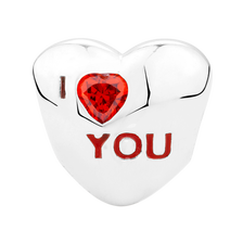 "Red Cubic Zirconia ""I Love You"" Heart Charm"