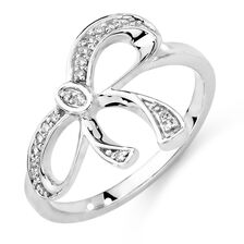 Online Exclusive - Bow Ring with Diamonds in 10ct White Gold