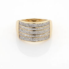 Online Exclusive - 5 Row Ring with 1/2 Carat TW of Diamonds in 10ct Yellow Gold