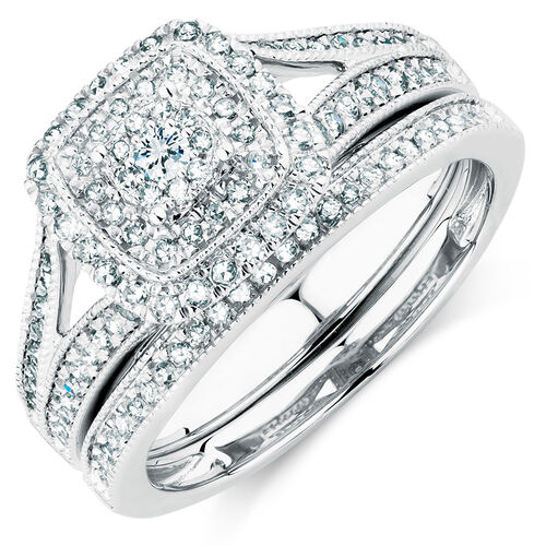 Bridal Set with 0.65 Carat TW of Diamonds in 10ct White Gold