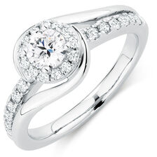 Ideal Cut Engagement Ring with 0.70 Carat TW of Diamonds in 14kt White Gold