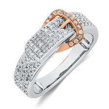 Buckle Ring with 1/4 Carat TW of Diamonds in 10ct White & Rose Gold