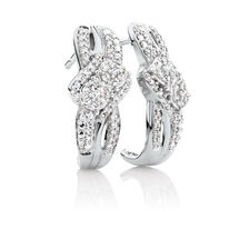Online Exclusive - By My Side Cluster Earrings with 1/3 Carat TW of Diamonds in 10ct White Gold