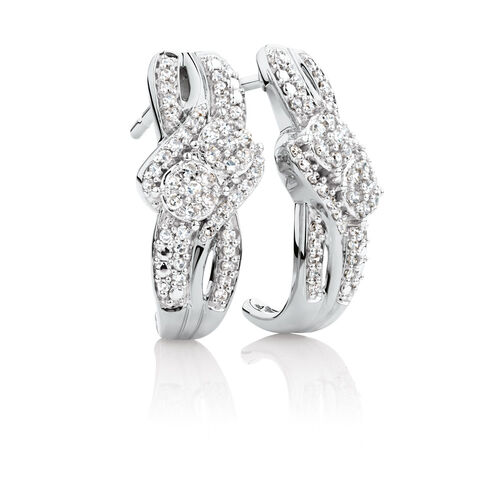 By My Side Cluster Earrings with 1/3 Carat TW of Diamonds in 10kt White Gold