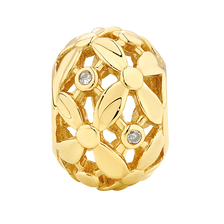 Diamond Set 10ct Yellow Gold Flower Pattern Charm