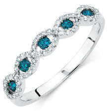City Lights Ring with 1/3 Carat TW of White &  Enhanced Blue Diamonds in Sterling Silver