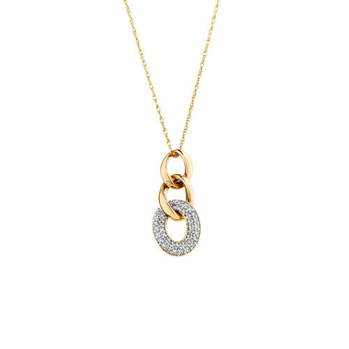 Link Pendant with 0.15 Carat TW of Diamonds in 10ct Yellow Gold
