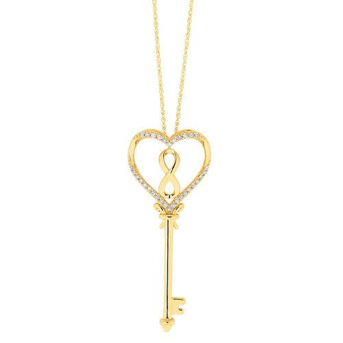 Infinitas Pendant with Diamonds in 10ct Yellow Gold