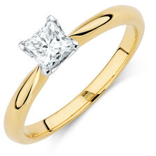 Evermore Certified Solitaire Engagement Ring with a 1/2 Carat Diamond in 18ct Yellow & White Gold