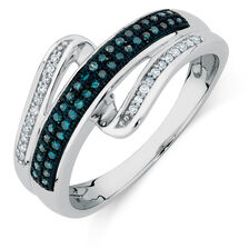 Ring with 0.19 Carat TW of White & Enhanced Blue Diamonds in Sterling Silver